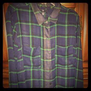 GAP ladies long sleeve sheer plaid blouse.